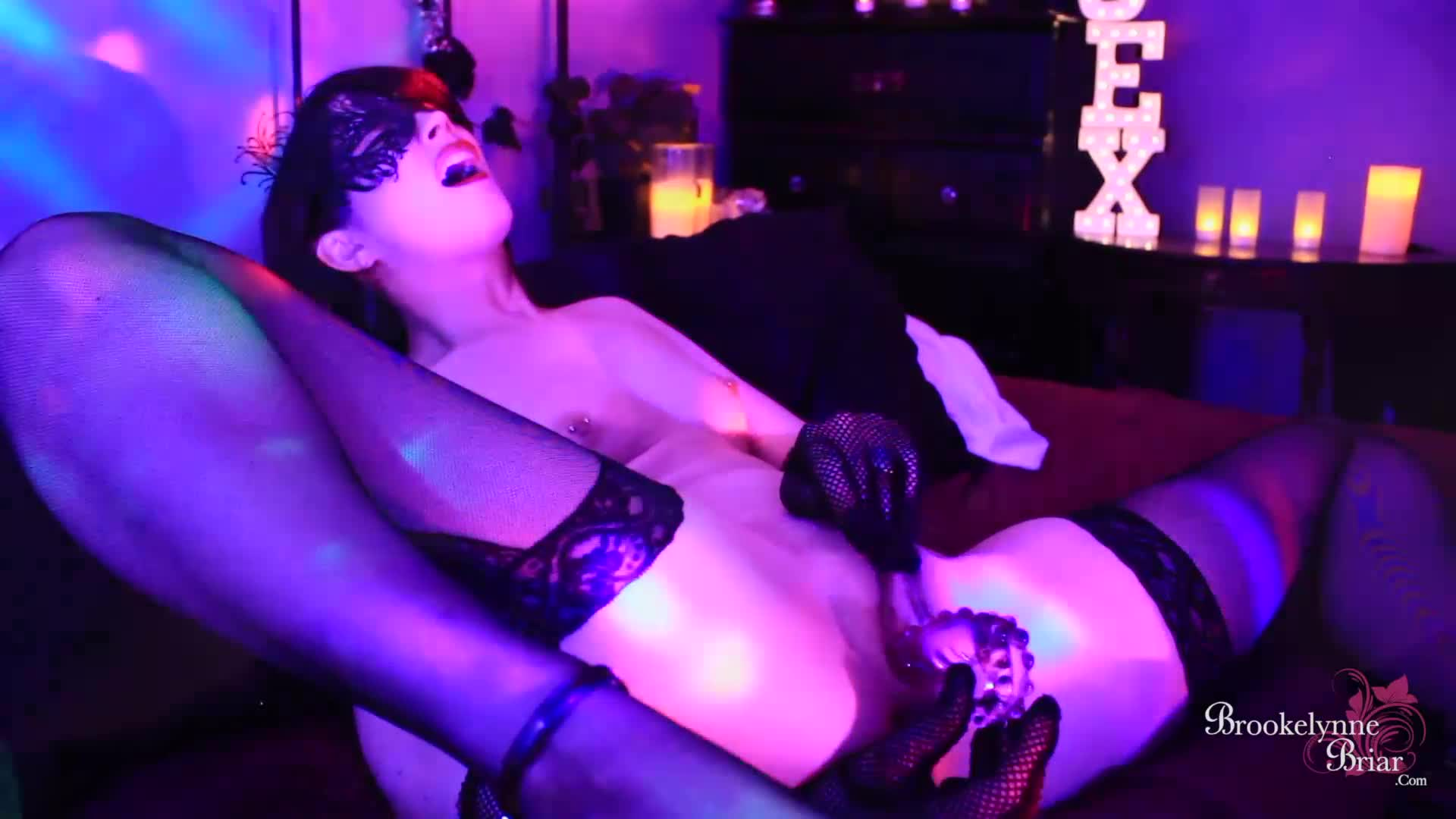 """Brookelynne Briar"" (Masturbation, Close-Ups, Mask Fetish, Glass Dildos, Dildo Fucking) Pussy Play After Dark - ManyVids Production"