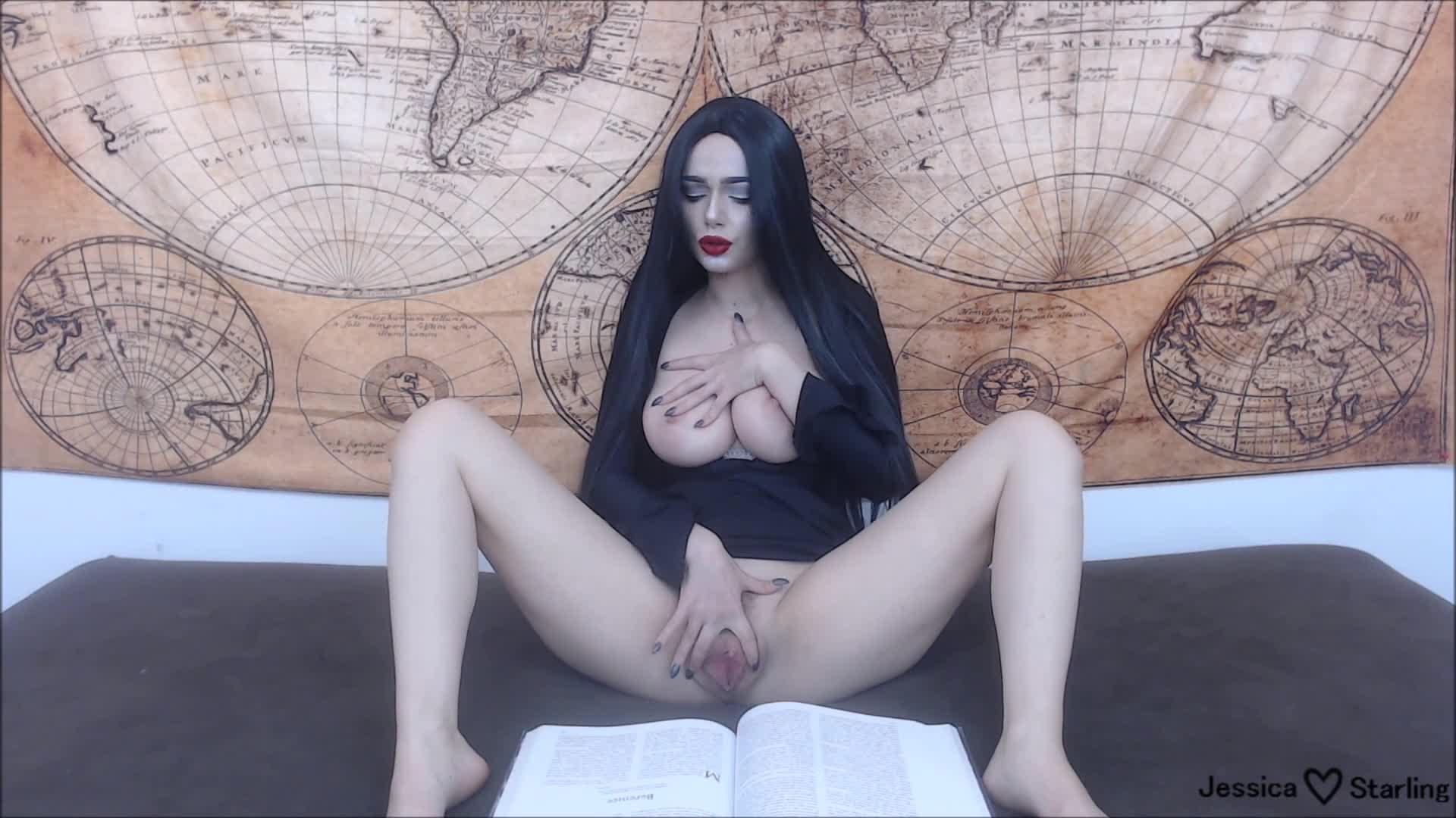 """Jessica Starling"" (Cosplay, Halloween, Masturbation, Fingering, Dildo Fucking) Morticia Fingers and Fucks to Poe - ManyVids Production"