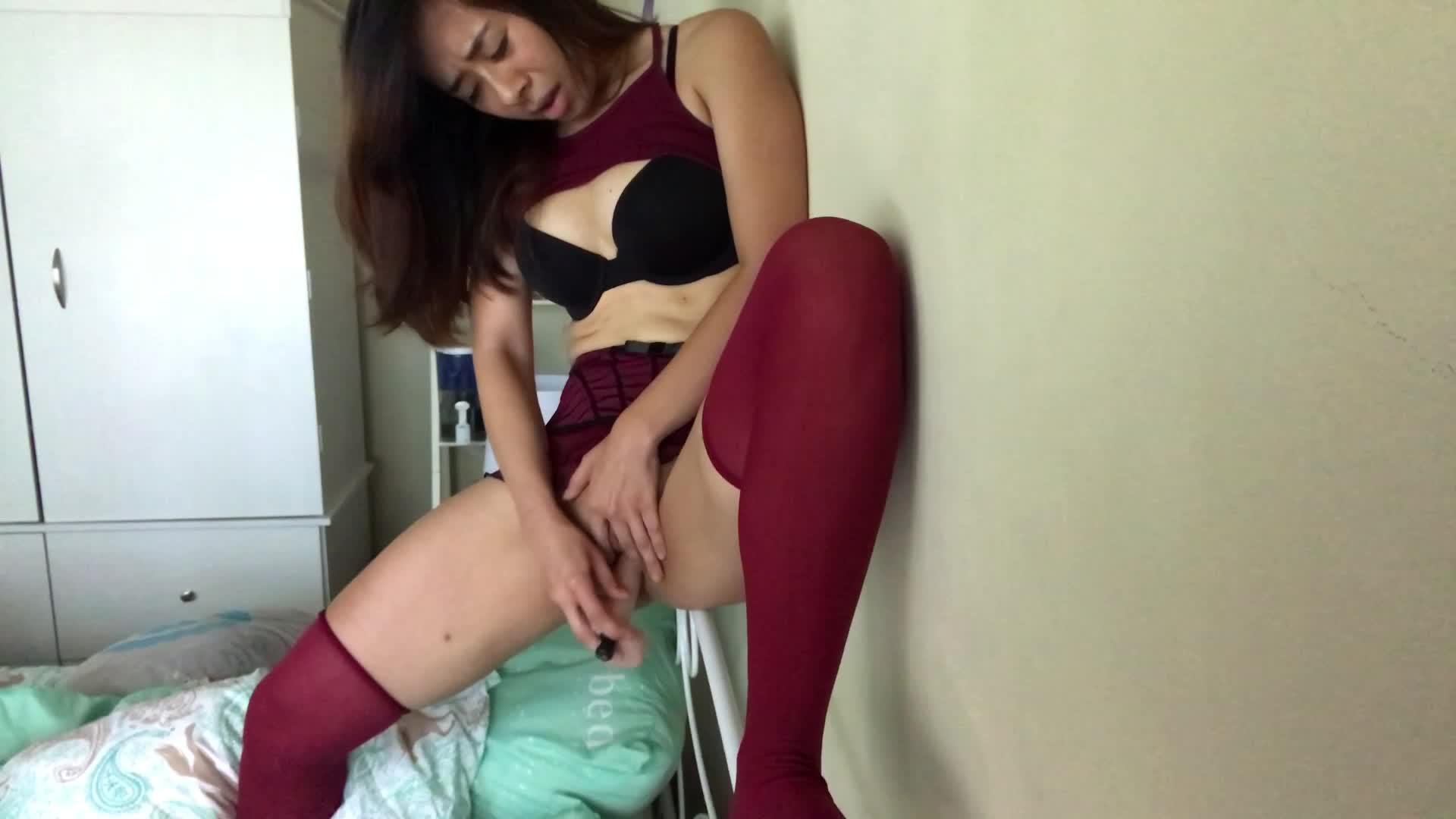 """Kaedia Lang"" (Asian, Stocking, Miniskirts, Dildo Fucking, Strip Tease) Against The Wall - ManyVids Production"