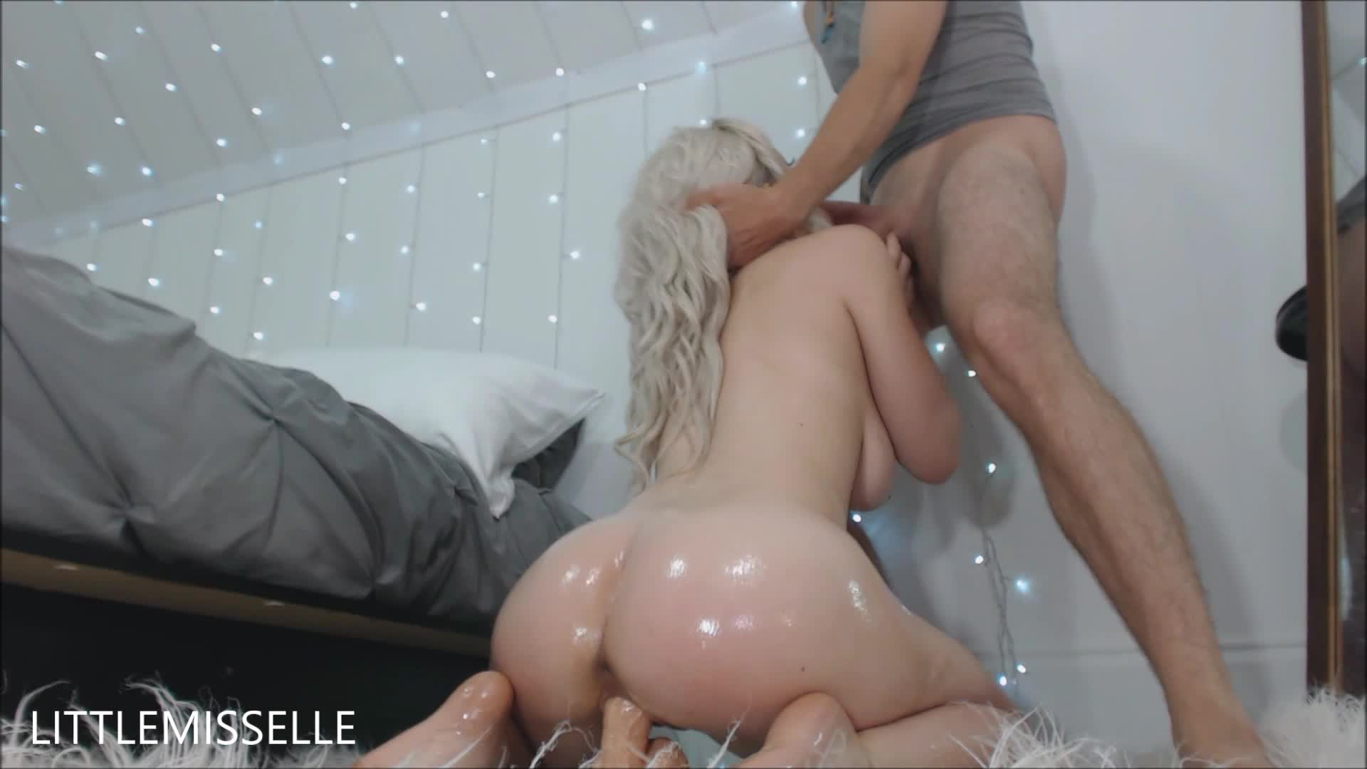 Fucks Dildo While Sucking Cock