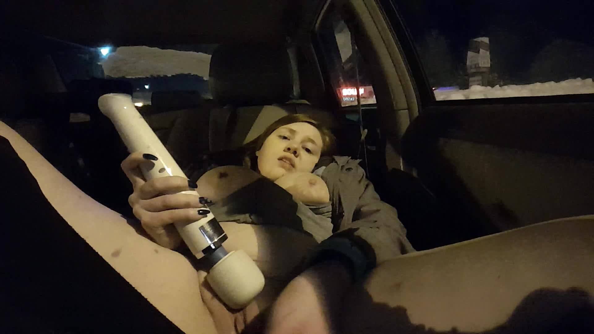 """Penelope Peach"" (Amateur, BBW, Car Sex, Public Nudity, Public Outdoor) Public Late Night Parking Lot Cum - ManyVids Production"