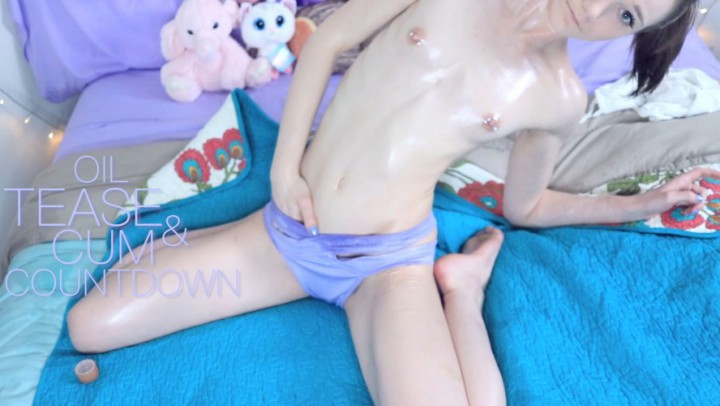 """PrincessBambie"" (Cock Tease, Cum Countdown, Oil, Petite, Skinny Women) Oil Tease and Cum Countdown - ManyVids Production"