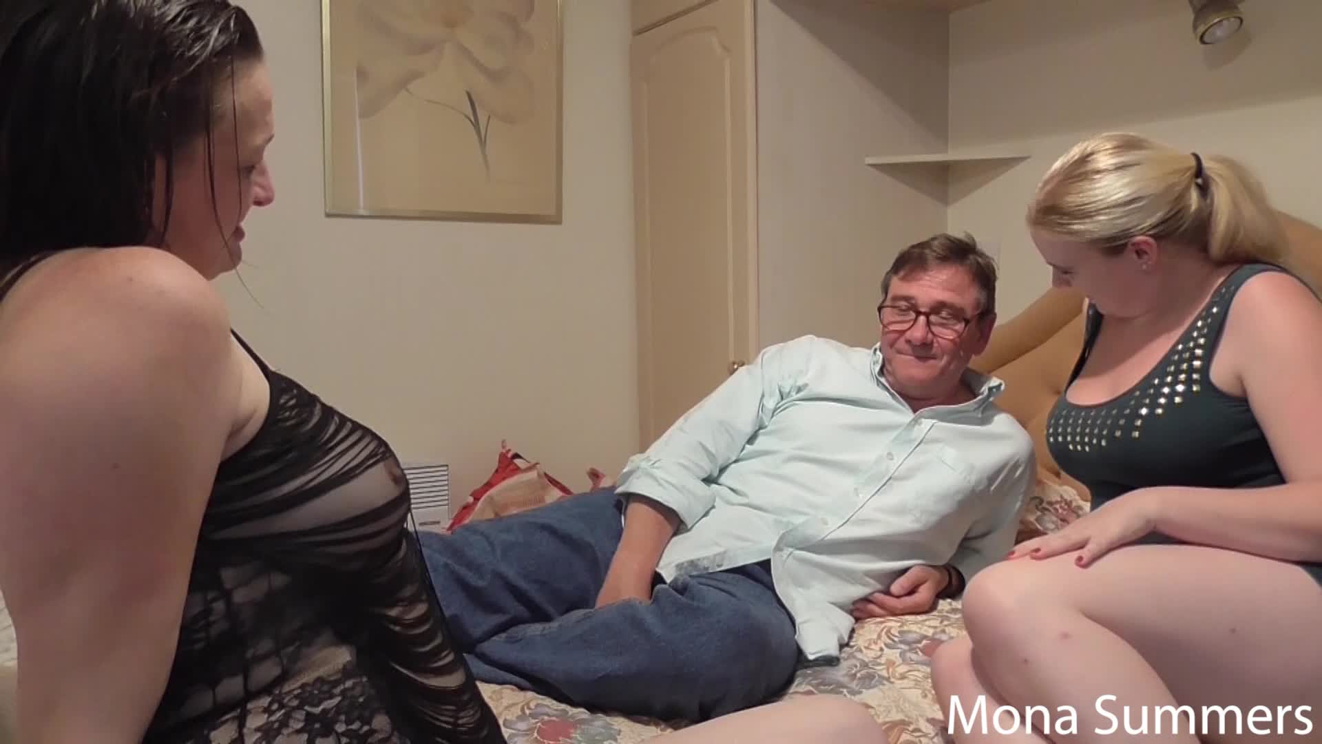 """""""Sexy_Mona91"""" (Threesome, Blonde, Brunette, Older Man / Younger Women, European) Swingers date - ManyVids Production"""