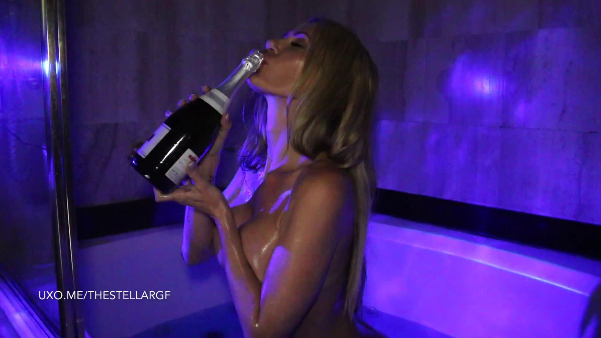 """""""TheStellarGF"""" (Live Cams, Champagne Tasting, Dildo Fucking, Dildo Sucking, Wet & Messy) Champagne Showers and Blowjob Dreams - ManyVids Production"""