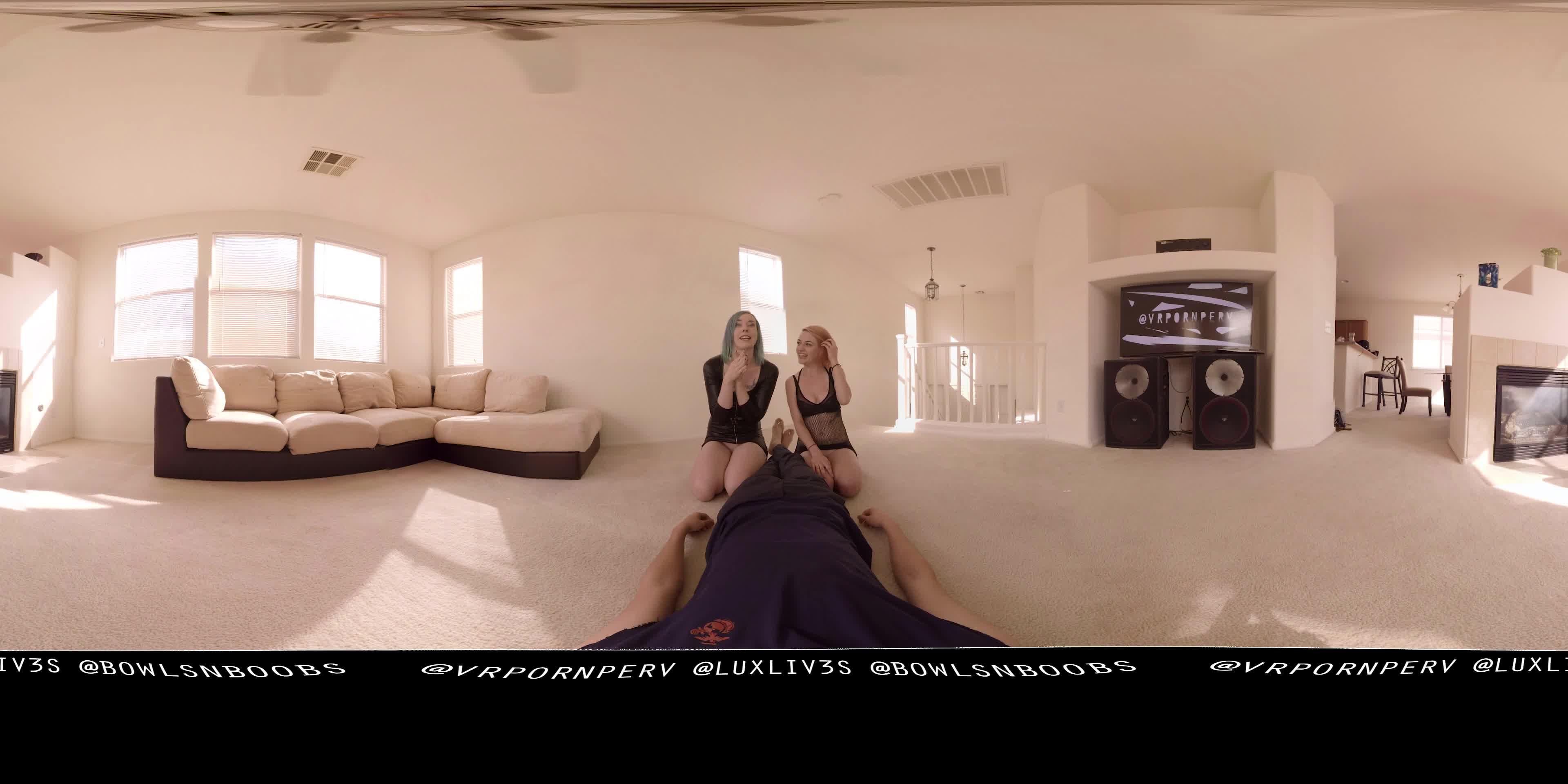 Porn Eating On Floor vr porn perv - vr360 two girls help u eat your cum - manyvids