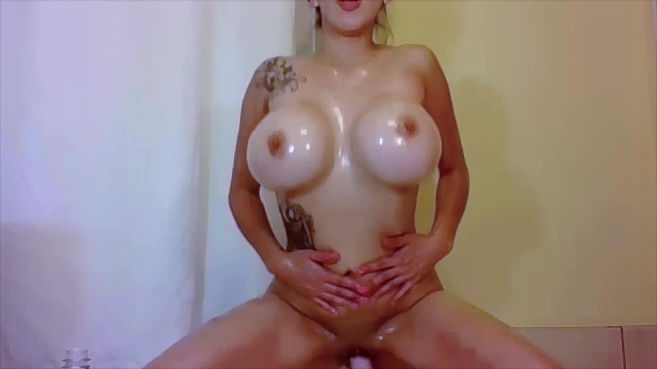 Big Natural Tits Riding Dildo